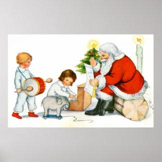 Navidad, niños y juguetes del padre póster