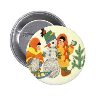 Navidad, niños y muñeco de nieve del vintage pins
