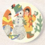 Navidad, niños y muñeco de nieve del vintage posavasos personalizados