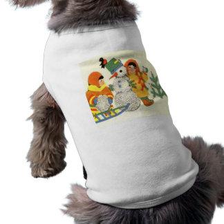 Navidad, niños y muñeco de nieve del vintage camiseta de mascota