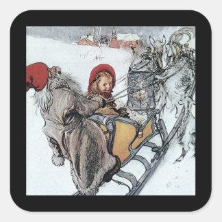 Navidad Nisse y Kersti en paseo del trineo Pegatina Cuadrada
