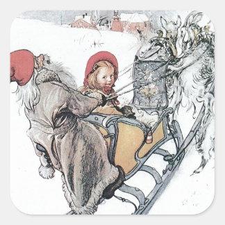 Navidad Nisse y Kirsti Pegatina Cuadrada