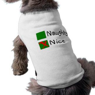 Navidad no travieso agradable camiseta de perro