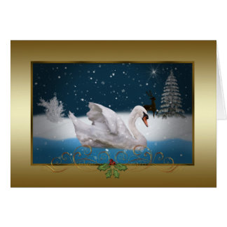 Navidad, noche Nevado con un cisne en un lago Tarjeta De Felicitación