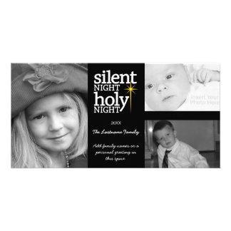 Navidad - noche silenciosa - collage de 3 fotos tarjetas fotográficas personalizadas