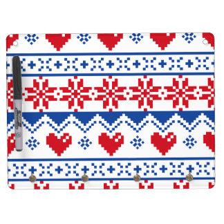 Navidad nórdico en rojo y azul pizarras