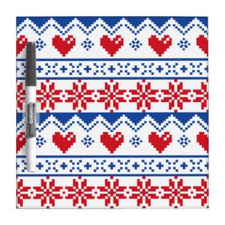 Navidad nórdico en rojo y azul pizarras blancas