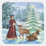Navidad o pegatinas de la escena del invierno del calcomanías cuadradass personalizadas