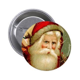 Navidad observado azul de Santa del vintage Pin Redondo De 2 Pulgadas