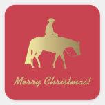Navidad occidental de oro del rojo del caballo del pegatina cuadrada