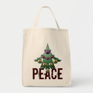 Navidad orgánico de la paz de Giftbag del día de Bolsa Tela Para La Compra