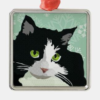 Navidad Orna del copo de nieve del verde del gato  Ornato