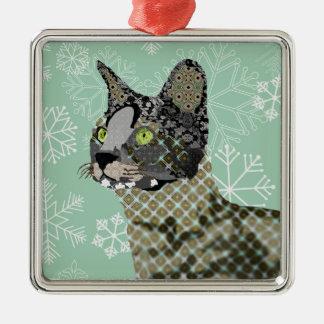 Navidad Orna del copo de nieve del verde del gato  Ornaments Para Arbol De Navidad