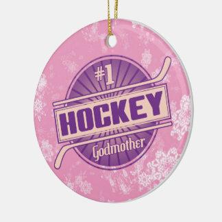 Navidad ornamento, madrina del hockey del hockey adorno redondo de cerámica