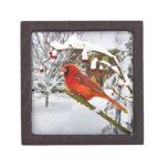 Navidad, pájaro cardinal, nieve, caja de regalo caja de recuerdo de calidad