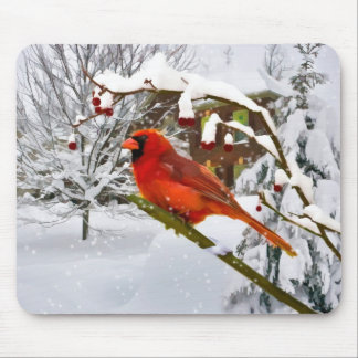 Navidad, pájaro cardinal, nieve, Mousepad Alfombrillas De Raton