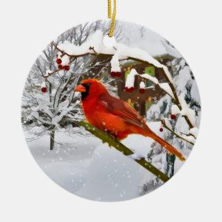 Navidad, pájaro cardinal, nieve, ornamento adorno navideño redondo de cerámica