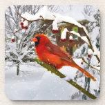 Navidad, pájaro cardinal, nieve, práctico de costa posavasos de bebidas