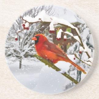 Navidad, pájaro cardinal, nieve, práctico de costa posavasos personalizados