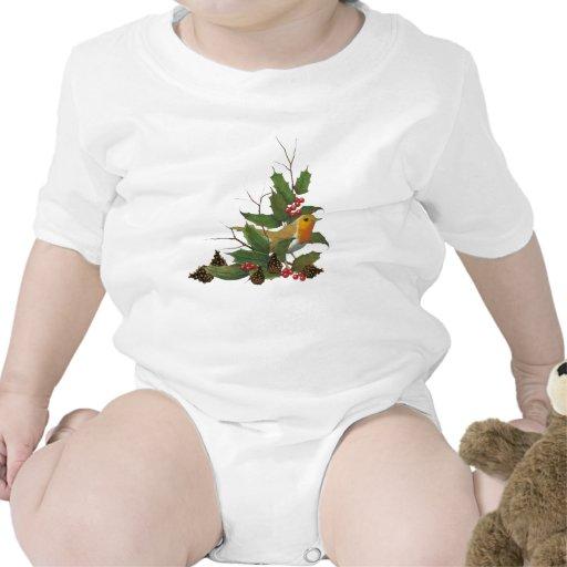 Navidad: Pájaro del dibujo, acebo, conos del pino Trajes De Bebé