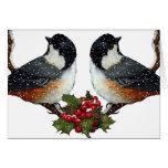 Navidad: Pájaros: Pares mullidos del Chickadee Tarjeta