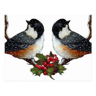 Navidad Pájaros Pares mullidos del Chickadee Tarjetas Postales