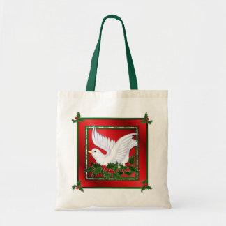 Navidad paloma y acebo bolsa