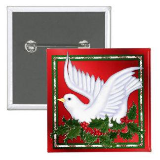 Navidad paloma y acebo pin cuadrado