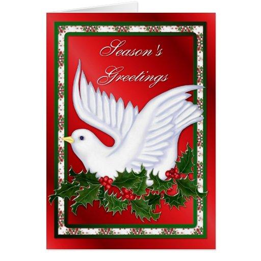 Navidad paloma y acebo tarjeta de felicitación