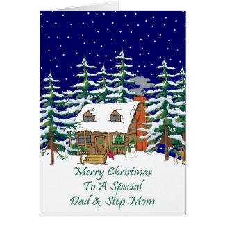 Navidad papá de la cabaña de madera y mamá del tarjeta de felicitación