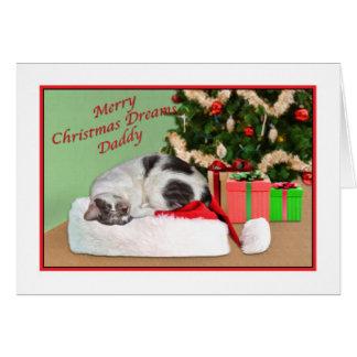 Navidad, papá, gato el dormir, gorra de Santa Tarjeta De Felicitación