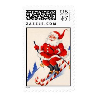 Navidad Papá Noel de esquí del vintage Timbre Postal