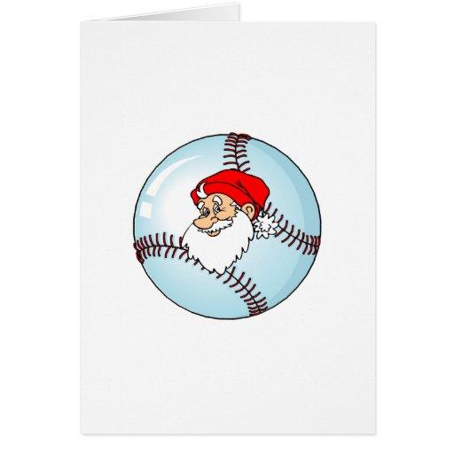 Navidad Papá Noel del béisbol Tarjeta De Felicitación