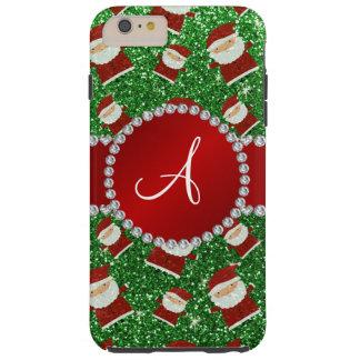 Navidad Papá Noel del brillo del verde del Funda De iPhone 6 Plus Tough