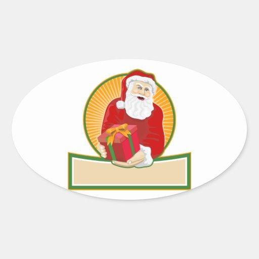 Navidad Papá Noel del padre Calcomania Óval Personalizadas