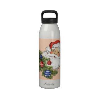 Navidad Papá Noel del vintage Botella De Agua Reutilizable