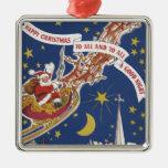 Navidad Papá Noel del vintage con el reno del Adorno Cuadrado Plateado