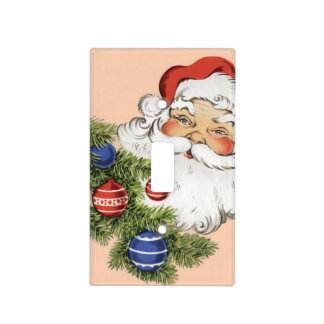Navidad Papá Noel del vintage con los ornamentos Cubierta Para Interruptor