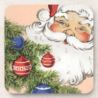 Navidad Papá Noel del vintage con los ornamentos Posavasos De Bebidas