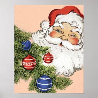 Navidad Papá Noel del vintage con los ornamentos Póster