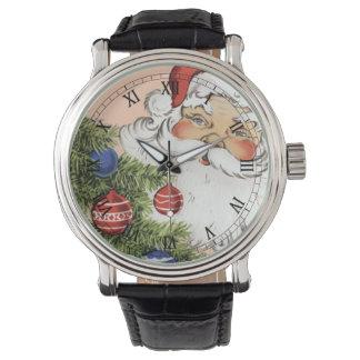 Navidad Papá Noel del vintage con los ornamentos Relojes De Pulsera
