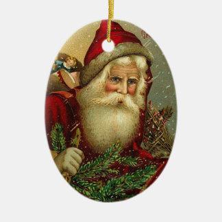 Navidad Papá Noel del vintage Adorno Ovalado De Cerámica