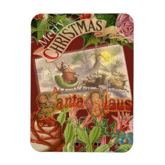 Navidad Papá Noel del vintage en trineo del Imán Flexible