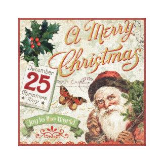 Navidad Papá Noel del vintage Impresión En Lienzo