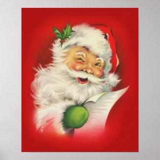 Navidad Papá Noel del vintage Póster