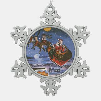 Navidad Papá Noel del vintage que vuela su trineo Adorno De Peltre En Forma De Copo De Nieve