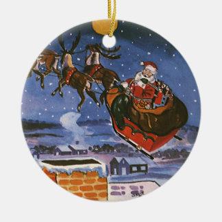 Navidad Papá Noel del vintage que vuela su trineo Adorno Navideño Redondo De Cerámica
