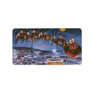 Navidad Papá Noel del vintage que vuela su trineo Etiquetas De Dirección