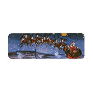 Navidad Papá Noel del vintage que vuela su trineo Etiquetas De Remite