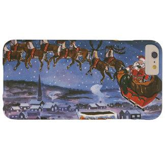 Navidad Papá Noel del vintage que vuela su trineo Funda De iPhone 6 Plus Barely There